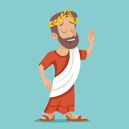 Greek Roman Retro Vintage Businessman Cartoon Character Icon On Stylish Stock Illustration Download Image Now Istock