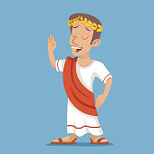 istock Greek Roman Retro Vintage Businessman Cartoon Character Icon on Stylish 599789966