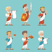 Greek Roman Retro Vintage Character Icon Set Cartoon Design Vector