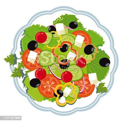 Greek salad on a plate. White background. vector illustration