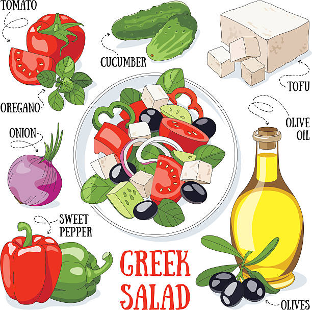 ilustrações de stock, clip art, desenhos animados e ícones de salada grega - mediterranean food