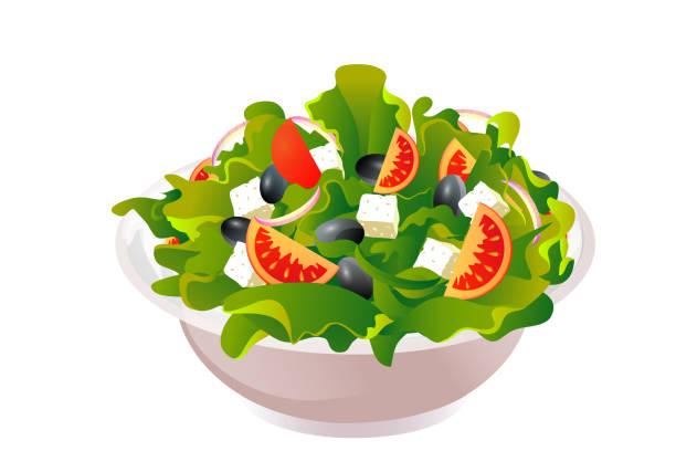 stockillustraties, clipart, cartoons en iconen met griekse salade vectorillustratie - tafel restaurant top