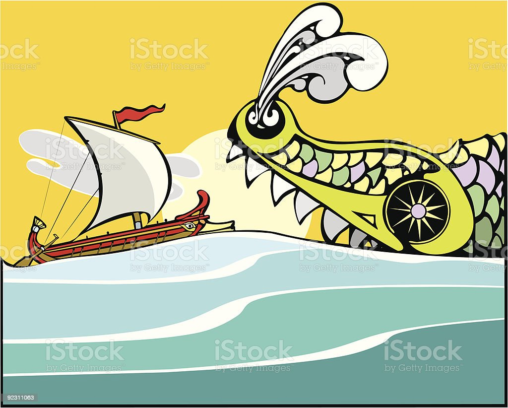Greek Ship and Sea Monster. royalty-free stock vector art