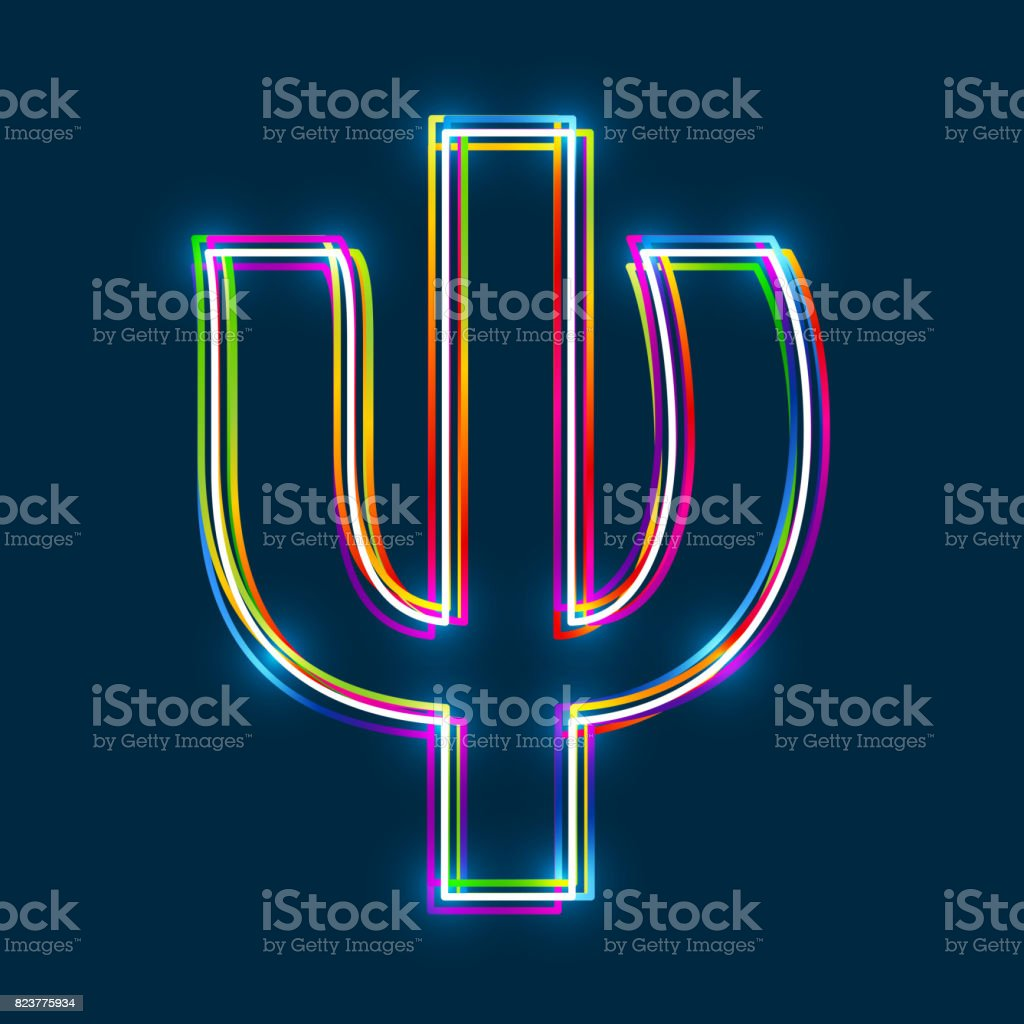 Greek Small Letter Psi - Vector multicolored outline font with glowing effect isolated on blue background.