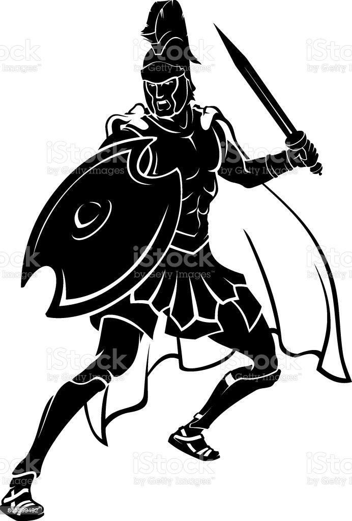 Greek Soldier Attack Stance vector art illustration