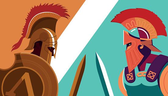 Ilustración de Greek Spartan Warrior Versus Trojan Soldier ...