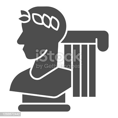 Greek statue and column solid icon, Back to school concept, monument and column sign on white background, Vintage ancient Greece elements icon in glyph style for mobile. Vector graphics
