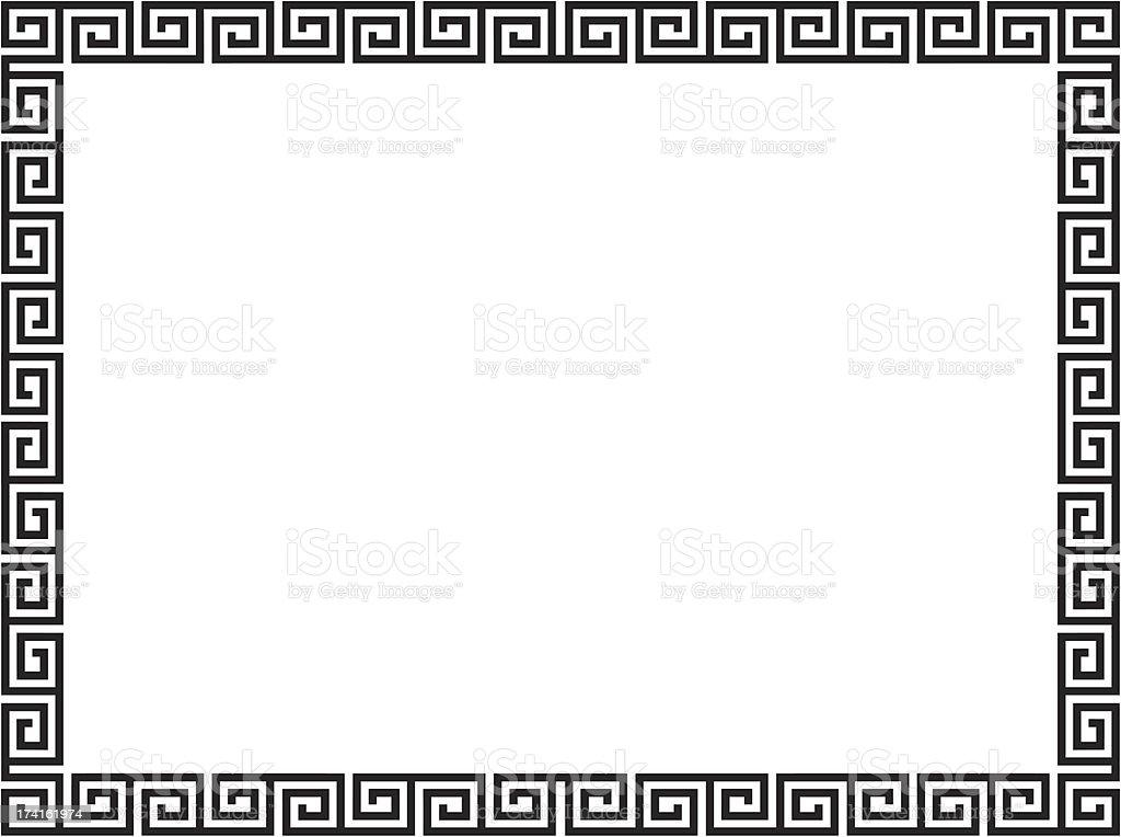 Greek style black ornamental decorative frame vector art illustration