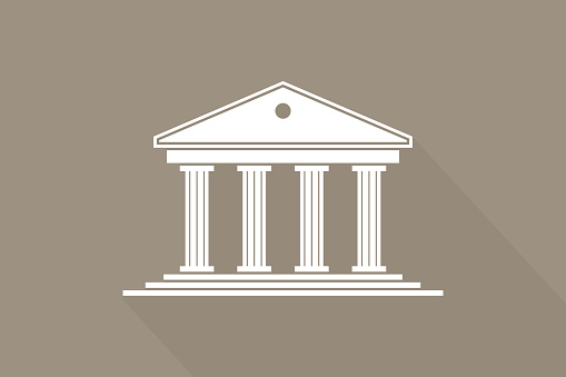 Greek temple. Icon of roman parthenon. Ancient building with columns. Greece architecture with pillar and acropolis. White  of rome law, bank and pantheon. Antique symbol. Vector.
