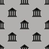 Greek Temple Icon Seamless Pattern