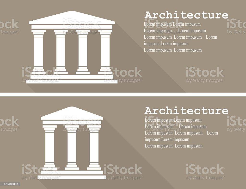 Greek temple icon vector illustration flat vector art illustration
