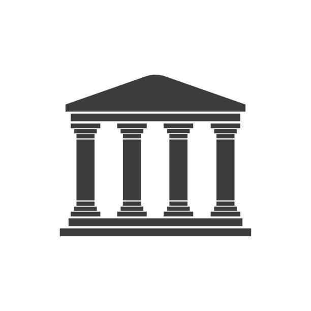 흰색 바탕에 그리스 사원 평면 디자인 - 기둥 stock illustrations