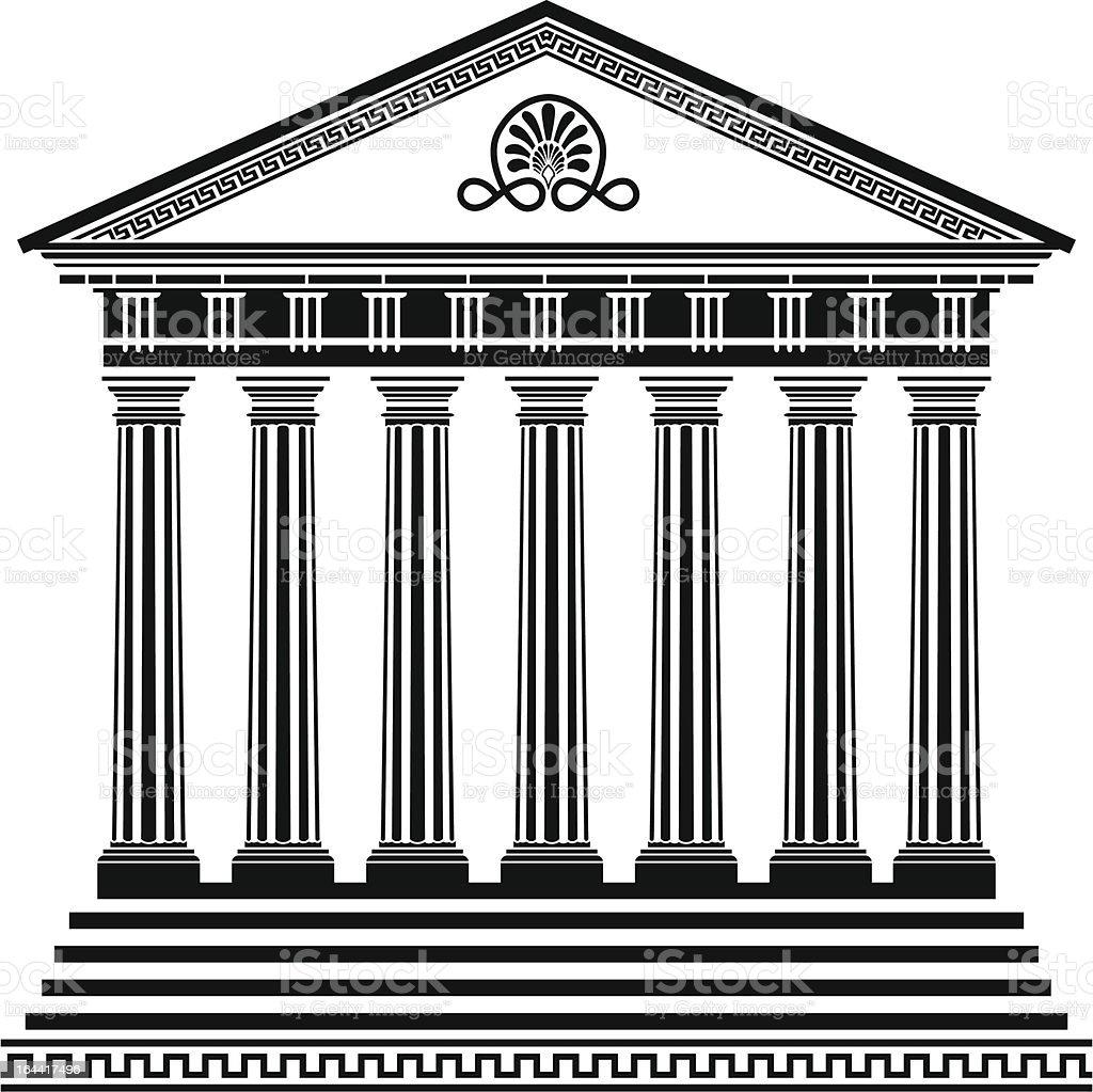Greek temple stencil vector art illustration