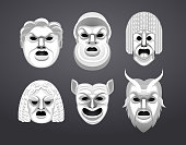 Greek Theatre Mask Set Vector Illustration Cartoon.