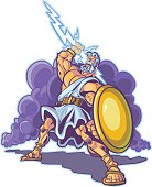 Greek Thunder God or Titan Mascot Vector Cartoon