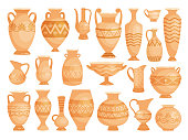 Greek vases. Ancient decorative pots isolated on white background, old antique clay greece pottery ceramic bowls vector illustration