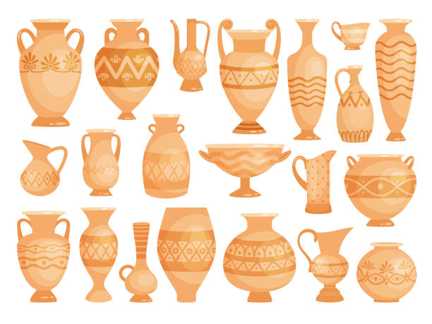 greek vases. ancient decorative pots isolated on white, vector old antique clay greece pottery ceramic bowls - wyrób ceramiczny stock illustrations