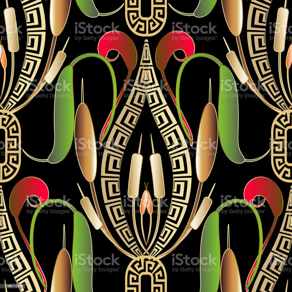 Greek Vector Seamless Pattern Colorful Ornamental Floral