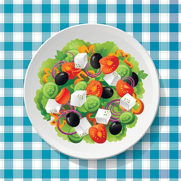 greek vegetable salad tomatoes fresh feta cheese vector illustration - ベジタリアン料理点のイラスト素材/クリップアート素材/マンガ素材/アイコン素材
