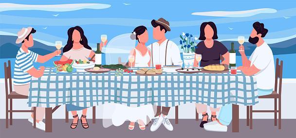 Greek wedding flat color vector illustration