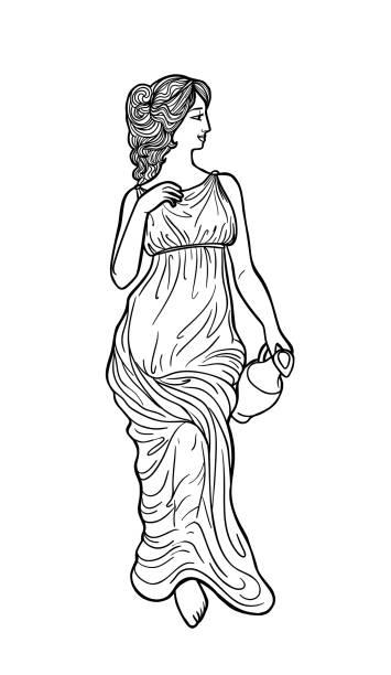 Greek woman vector art illustration