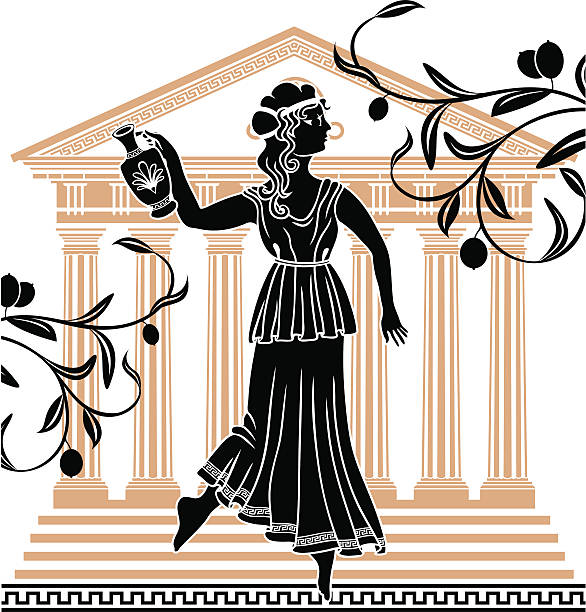 greek woman with amphora vector art illustration