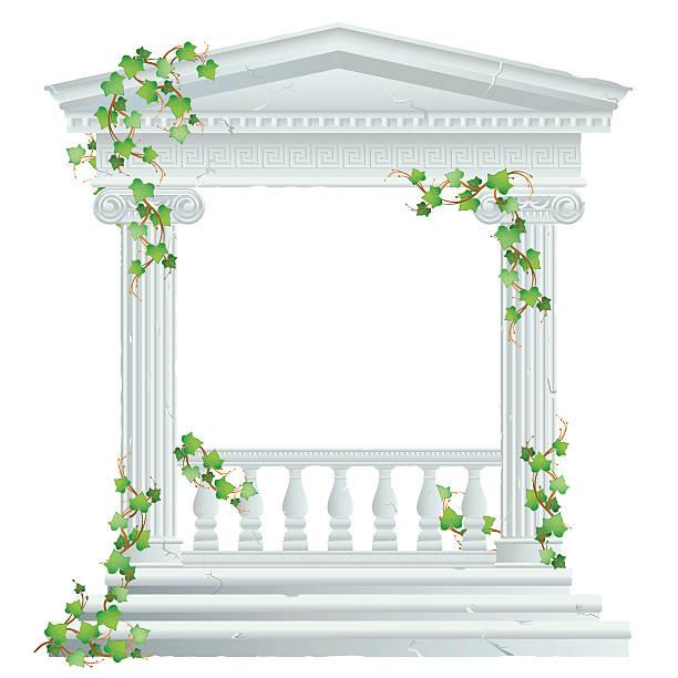 ilustrações de stock, clip art, desenhos animados e ícones de grego/ruína romana com hera - ivy building