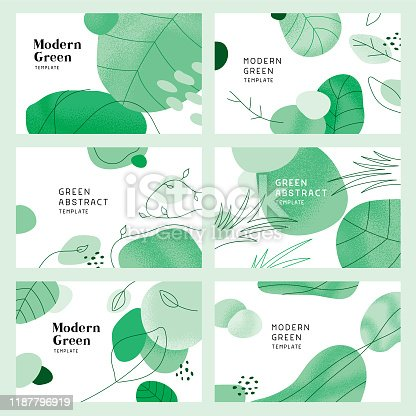 Collection of green templates for backgrounds, banners or covers.  Fully editable vectors.