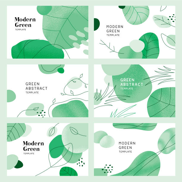 green abstract backgrounds with leaves - nature stock illustrations