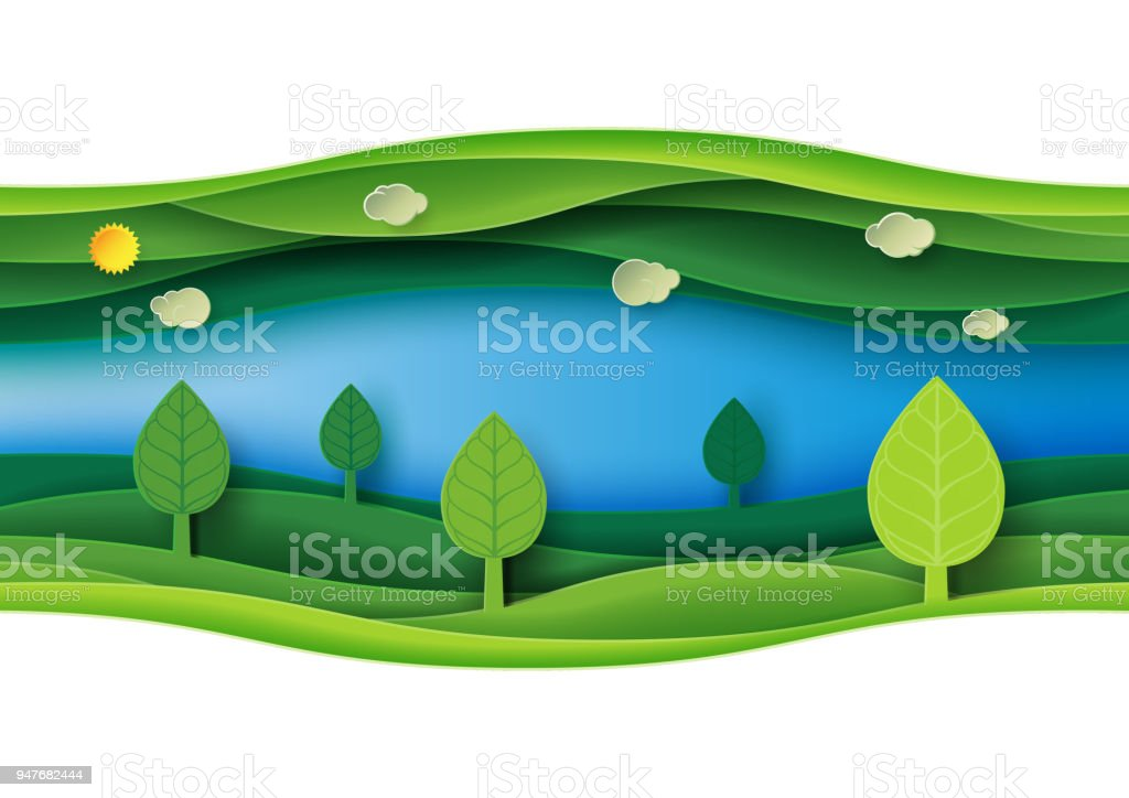 Green abstract nature landscape paper art background royalty-free green abstract nature landscape paper art background stock illustration - download image now
