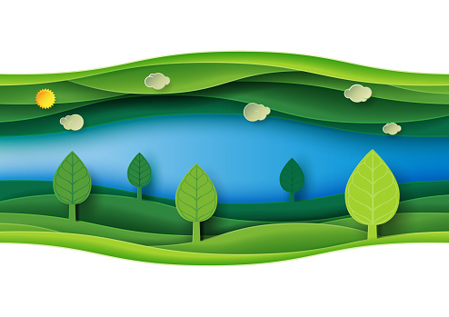 Green Abstract Nature Landscape Paper Art Background Stock Illustration - Download Image Now