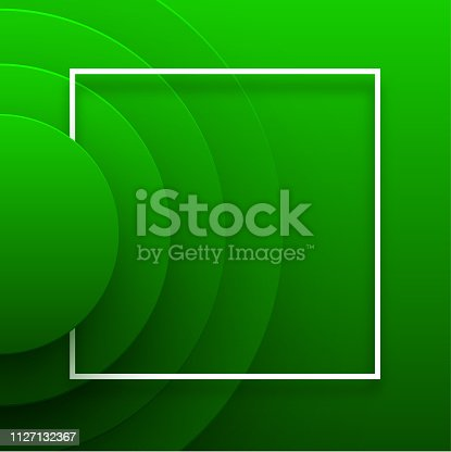 Green abstract paper template with white square frame and multi-layered circles pattern. Papercut shapes design, vector background.