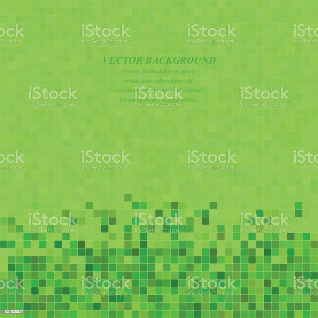 Green abstract pixel square mosaic background vector art illustration