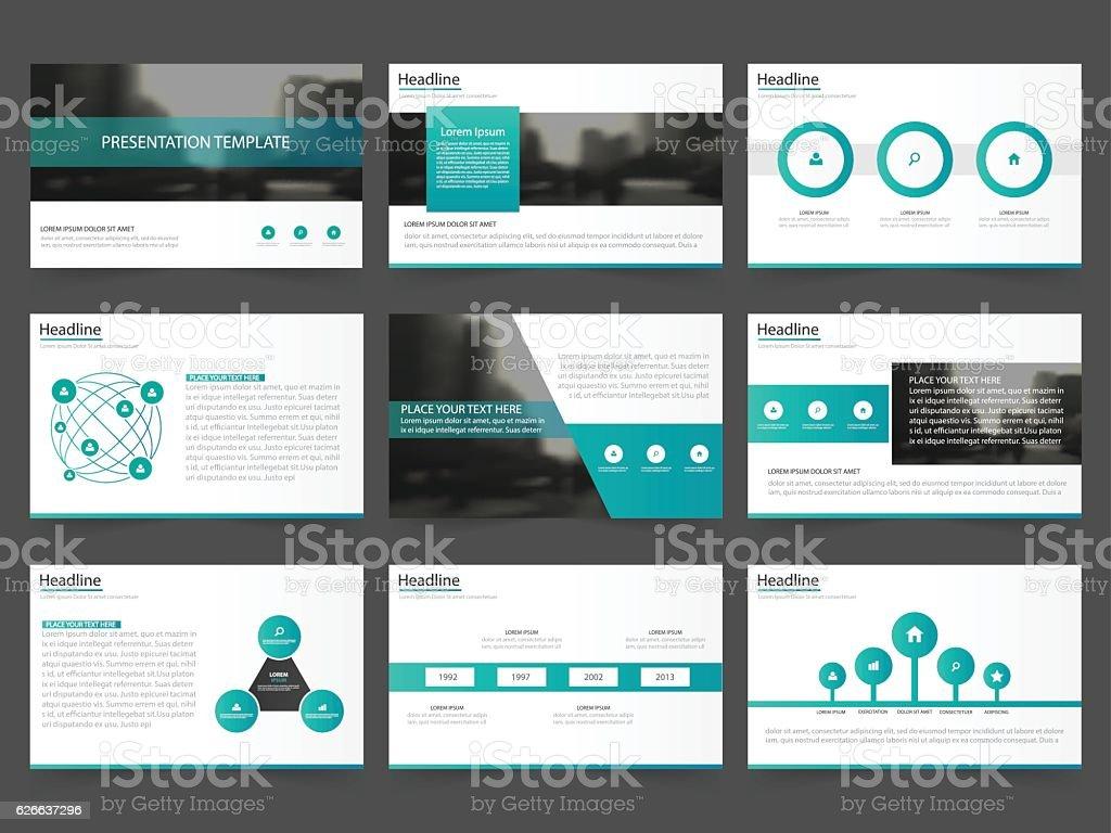 Green Abstract presentation templates Infographic elements template flat design set vector art illustration