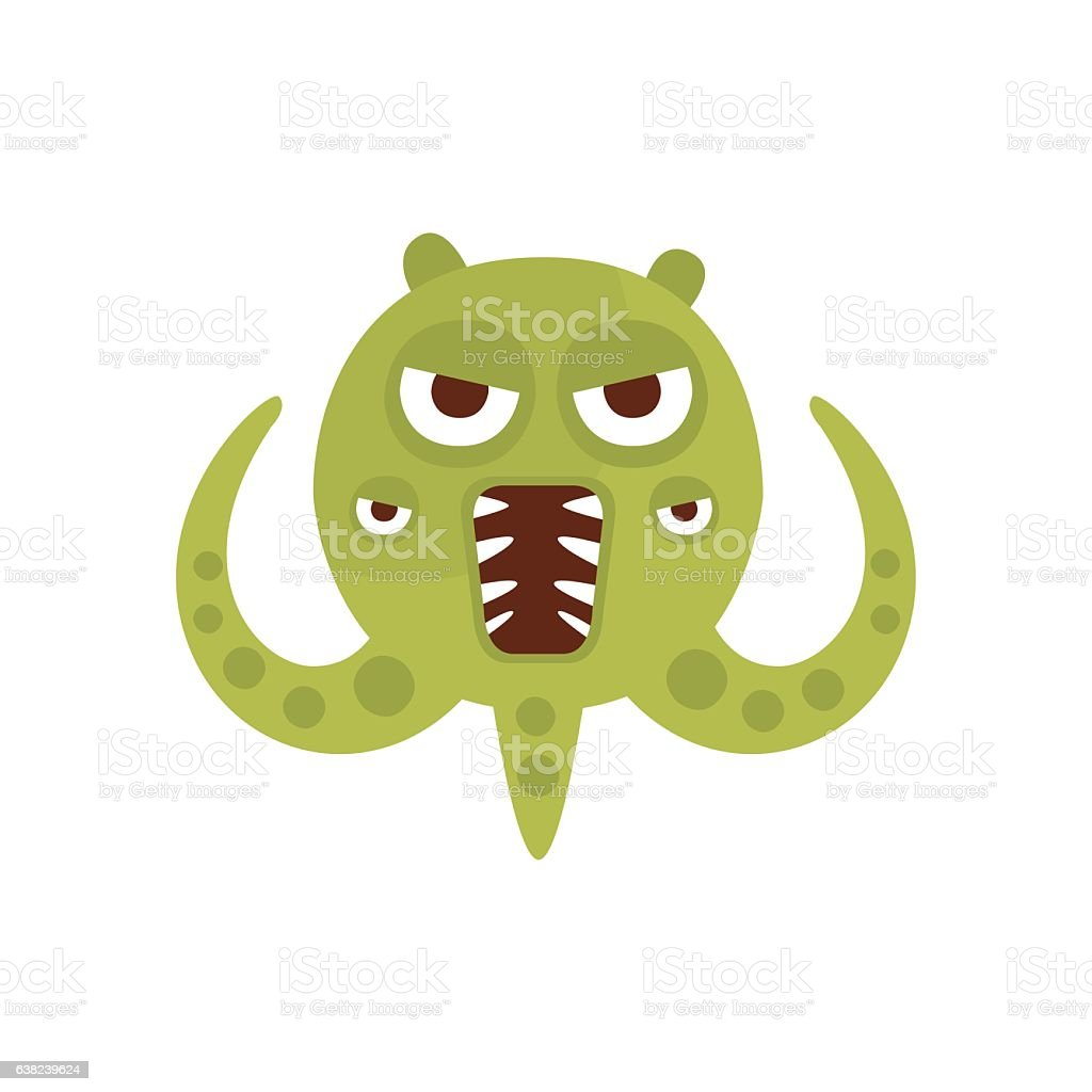 Green Aggressive Malignant Bacteria Monster With Sharp vector art illustration
