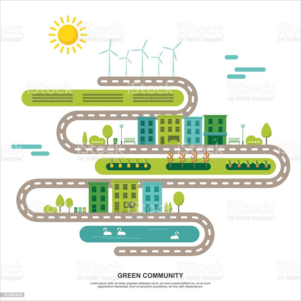 Green agriculture community concept vector art illustration