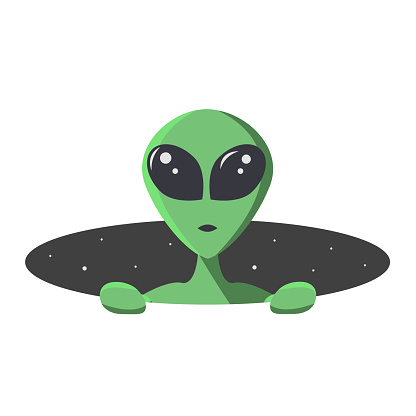 Green alien climbs out from the hole of space with stars. Extraterrestrial in flat cartoon style for t-shirt, print or textile.  Vector illustration