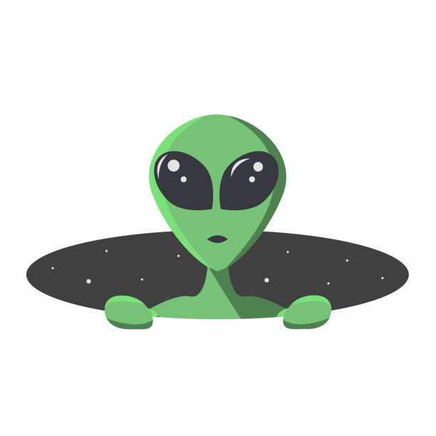 stockillustraties, clipart, cartoons en iconen met groene alien klimt uit het gat van de ruimte met sterren. buitenaards in platte cartoon stijl voor t-shirt, print of textiel.  vector illustratie - buitenaards wezen
