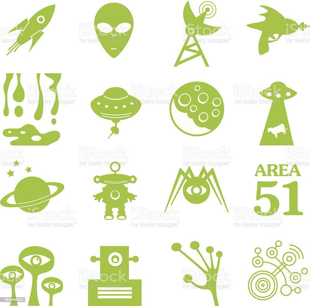 Green Alien Icons vector art illustration