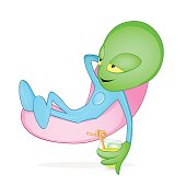 Green alien relaxing in levitating chair