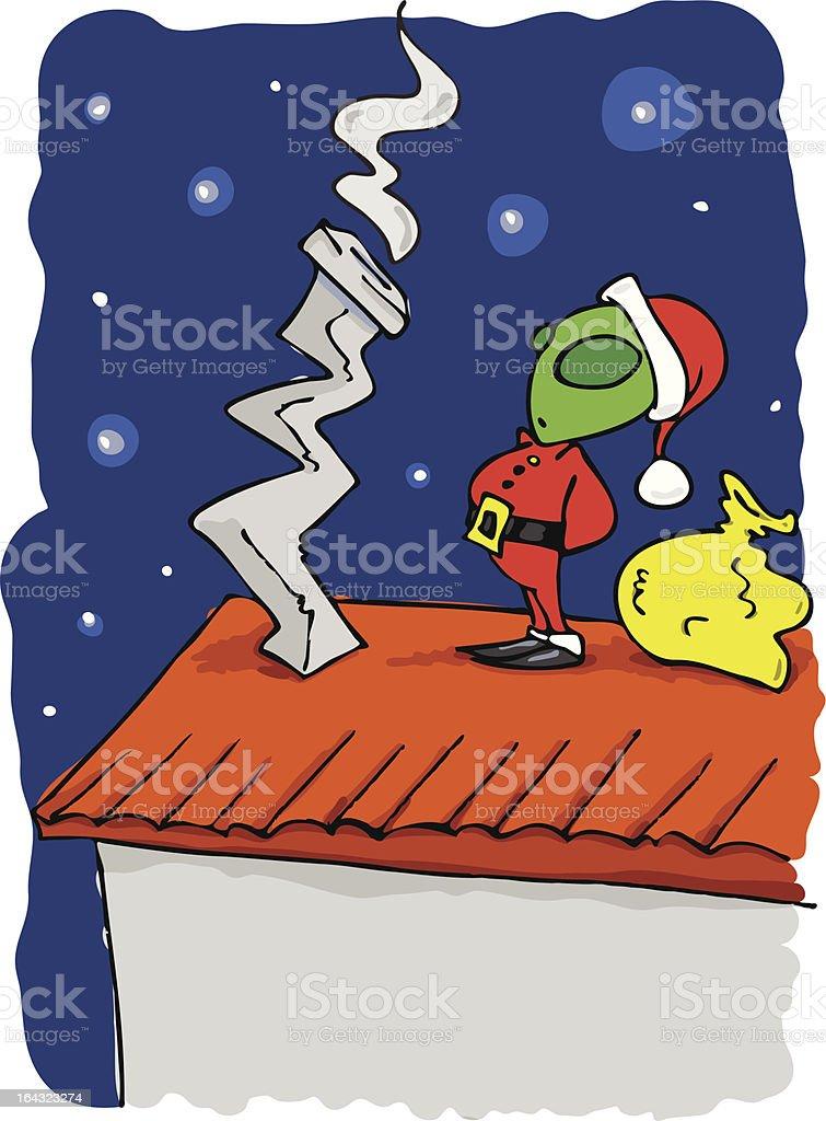 Green alien Santa Claus royalty-free stock vector art