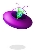 Green alien with flying saucer over white