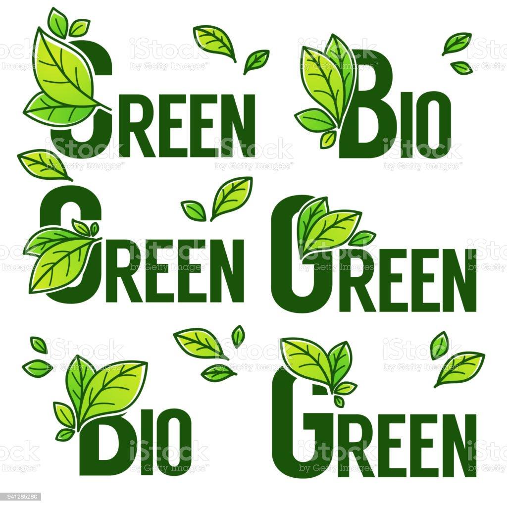 Ilustración de Hojas Verdes Y Productos Bio Doodle Orgánica Emblemas ...