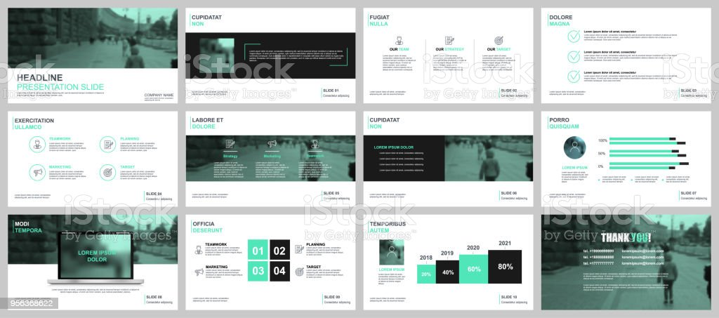 Green and black business presentation slides templates from infographic elements. векторная иллюстрация