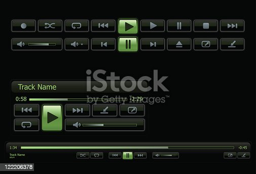 istock Green and black computer media player 122206378