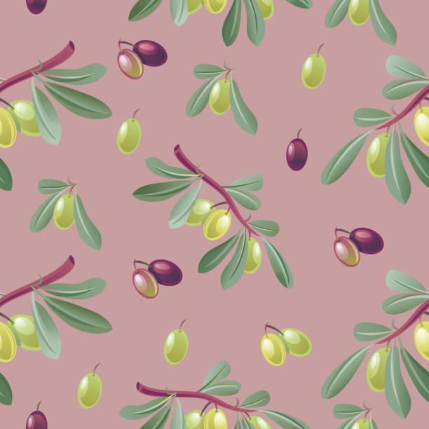 Green and black olives seamless pattern vector art illustration