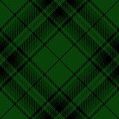 Green and black Scottish tartan plaid seamless diagonal textile pattern background.
