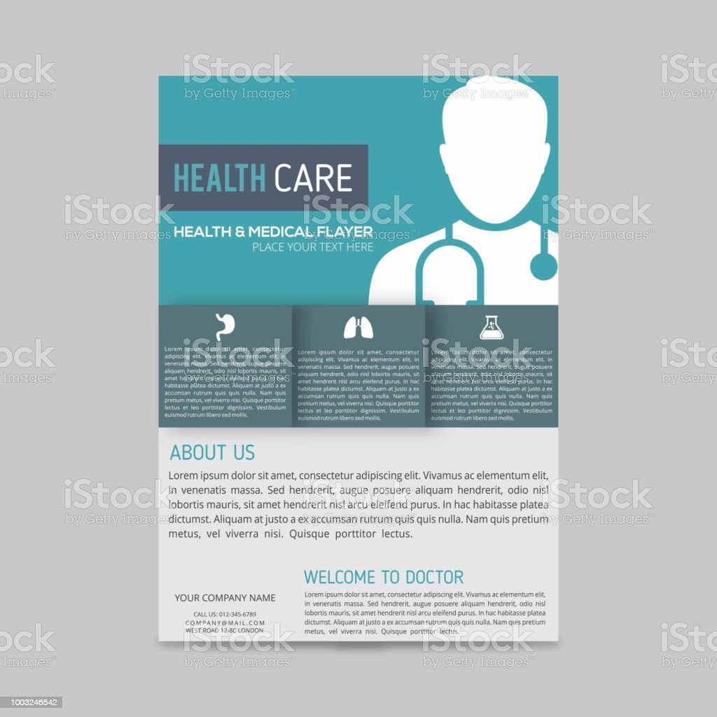 green and blue boxes with white doctor silhouette medical flyer layout template, brochure background, leaflet with cover, vector design in a4 size for business vector art illustration
