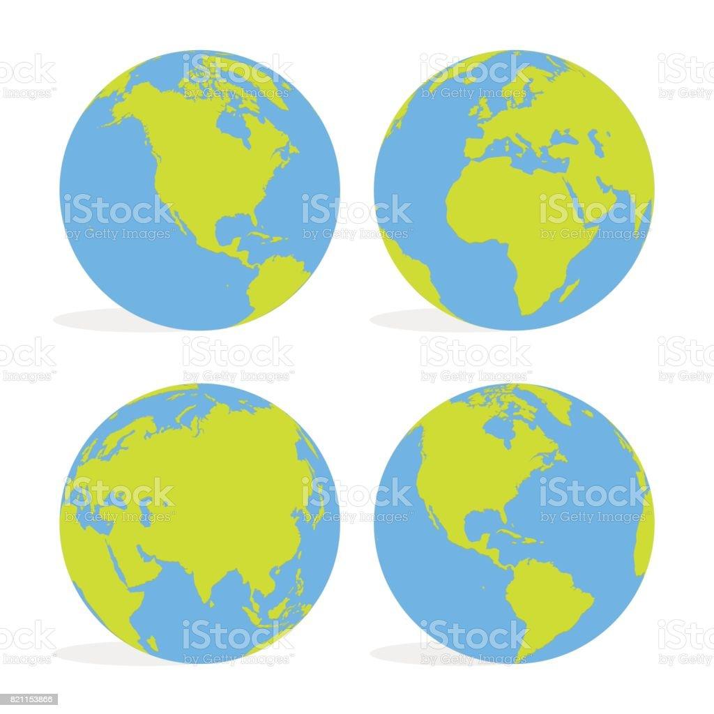 Green And Blue Cartoon World Map Globe Set Vector Illustration Stock  Illustration - Download Image Now - iStock