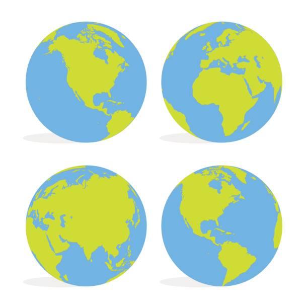 ilustraciones, imágenes clip art, dibujos animados e iconos de stock de mundo de verde y azul de dibujos animados mundo mapa conjunto ilustración vectorial - europa oriental